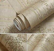 VanMe Amerikanische Exquisite Tief Geprägte Tapeten Ab Schlafzimmer Wohnzimmer Sofa Non-Woven Tuch, Hintergrundbild,Braun B