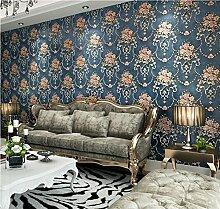 VanMe Amerikanische Exquisite Tief Geprägte Tapeten Ab Schlafzimmer Wohnzimmer Sofa Non-Woven Tuch, Hintergrundbild,Deep Blue Ein