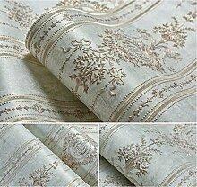VanMe Amerikanische Exquisite Tief Geprägte Tapeten Ab Schlafzimmer Wohnzimmer Sofa Non-Woven Tuch, Hintergrundbild,Hellgrün B