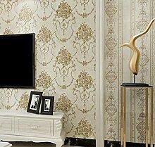 VanMe Amerikanische Exquisite Tief Geprägte Tapeten Ab Schlafzimmer Wohnzimmer Sofa Non-Woven Tuch, Hintergrundbild,Reis Weiß Ein