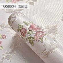 VanMe Bevorzugte Wallpaper Feine Schnitzerei Geprägte Wallpaper-Style Rustikales Schlafzimmer Tapete,Lila