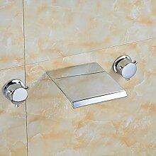 VanMe Waschtischmischer Chrom poliert Wasserfall Auswurfkrümmer Bad Badewanne Armatur Dual Griffe Tippen
