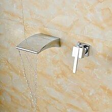 VanMe Waschtischmischer Chrom Wandmontage Wasserfall Ausgießer mit einzigen Griff Bad Armatur, Chrom 1