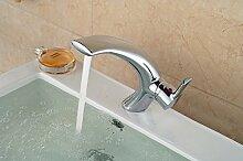 VanMe Waschtischmischer Elegante Messing verchromt Badezimmer Waschtisch Armatur Waschbecken Mischbatterie einzigen Griff Loch