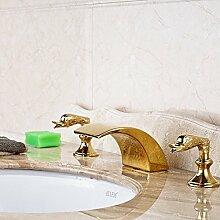 VanMe Waschtischmischer Golden Brass schöner Schwan Griffe Wasserfall Bad Waschtisch Armatur Waschbecken Mischbatterie