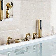 VanMe Waschtischmischer Golden Brass Wasserfall Bad Badewanne Armatur mit Handbrause Mischbatterie
