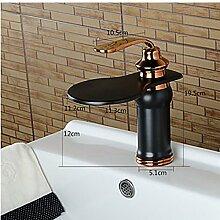 VanMe Waschtischmischer Grossen Wasserfall Ausgießer Öl eingerieben Bronze Badezimmer Waschtisch Armatur Waschbecken Mixer