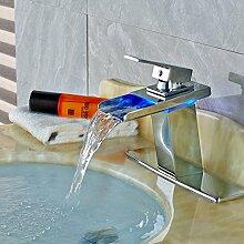 VanMe Waschtischmischer Led Chrom Wasserfall Auswurfkrümmer Badezimmer Waschtisch Armatur Waschbecken Mischbatterie/Platte