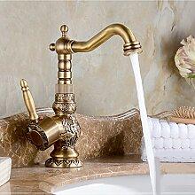 VanMe Waschtischmischer Luxus Blume geschnitzt Messing antik Bad Armatur schwenkbarer Auslauf Waschbecken Tippen