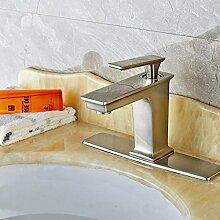 VanMe Waschtischmischer Moderne Nickel gebürstet Messing Bad Armatur Waschbecken Mischbatterie W/Platte, einseitiger Griff