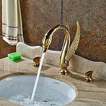 VanMe Waschtischmischer Modernen polierten Goldenen Messing Bad Badewanne Armatur mit Handbrause Feldspritze Waschbecken Mischbatterie