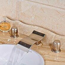 VanMe Waschtischmischer Nickel gebürstet Deck Mount Badezimmer Waschbecken Wasserhahn Dual Griffe Waschbecken Mischbatterie Badewanne Armatur des Auswurfkrümmers