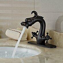 VanMe Waschtischmischer Öl eingerieben Bronze Bad Armatur Chines Drache Hahn Waschbecken Tier Waschbecken Mischbatterie Dual Griffe