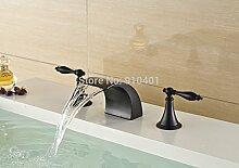 VanMe Waschtischmischer Öl eingerieben Bronze Bad Armatur Waschbecken Mischbatterie römischen Stil Deck zwei Griffe
