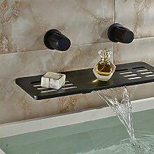 VanMe Waschtischmischer Wasserfall Bad Armatur Öl eingerieben Bronze massiv Messing Gefäß Waschbecken Mischbatterie