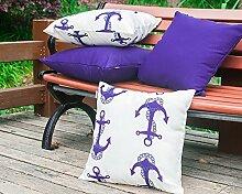 Vantextile 4 Stück /Set Kissenbezug / Kissenhüllen aus 100% Polyster für Sofa, Innenraum / Draußen( Gartenstühle), Weihnachts Dekoration,Wasserdicht, Kissenhülle mit Witterungwiderstand, Invisibler Reibungsverschluss, sichere und komfortable Kissenbezug 45x45cm, dunkelblau (ohne inneren Kissen bei Lieferumfang). Hand oder Maschine waschen.
