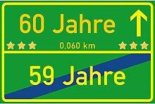 vanva Schild 60 Jahre Ortsschild 60. Geburtstag