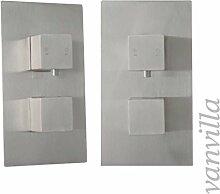 vanvilla 2-Wege Design Thermostat Unterputz Armatur Duscharmatur, Edelstahl gebürstet SL0317(01)W