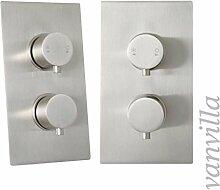 vanvilla 2-Wege Design Thermostat Unterputz Armatur Duscharmatur, Edelstahl gebürstet SL0318(04)W
