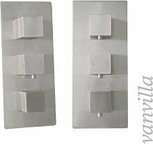 vanvilla 3-Wege Design Thermostat Unterputz Armatur Duscharmatur, Edelstahl gebürstet SL0105(07)W