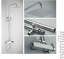 vanvilla Design Dusch-Set Duscharmatur Duschkopf Handbrause 6663 mit Einhebelmischer und 20x20cm Edelstahlduschkopf
