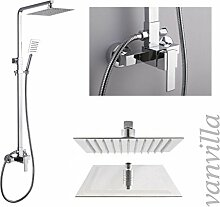 vanvilla Design Dusch-Set Duscharmatur Duschkopf Handbrause 6623/B mit Einhebelmischer und 20x20cm Edelstahlduschkopf polier