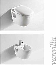 vanvilla Design Hänge WC + Hänge Bidet SET inklusive Soft-Close 8009