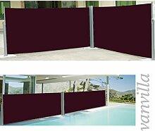 vanvilla Doppel Seitenmarkise Eck Markise Sichtschutz Windschutz Sonnenschutz Bordeaux 180x600 cm