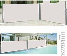 vanvilla Doppel Seitenmarkise Eck Markise Sichtschutz Windschutz Sonnenschutz Beige 200x600 cm