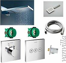 vanvilla Dusch-Set Unterputz Armatur Hansgrohe ShowerSelect Thermostat Regenduschkopf 60x22 cm poliert mit Schwall SET HG04