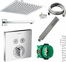 vanvilla Dusch-Set Unterputz Armatur Hansgrohe ShowerSelect Regenduschkopf eckig poliert Set HG14