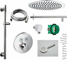vanvilla Dusch-Set Unterputz Armatur Hansgrohe ShowerSelect Thermostat Regenduschkopf rund poliert Set HG12
