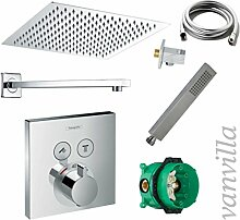 vanvilla Dusch-Set Unterputz Armatur Hansgrohe ShowerSelect Thermostat Regenduschkopf 25x25 cm poliert Set HG02
