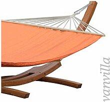 vanvilla Hängematte mit Gestell aus Lärche ANGAGA 420cm x 120cm, Hängematte Orange, verzinkte Stahlteile, Holz Teakfarben, Hängemattengestell Holz