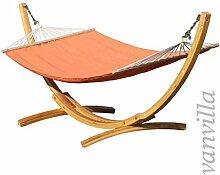 vanvilla Hängematte mit Gestell aus Lärche LaGarde 340cm x 120cm, Hängematte Orange, verzinkte Stahlteile, Holz Naturfarben, Hängemattengestell Holz