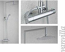 vanvilla Thermostat SEDAL Duschset Duscharmatur mit 20cm rund Edelstahlduschkopf und Handbrause 6683C-8 Duschsystem Duschgarnitur Duschse