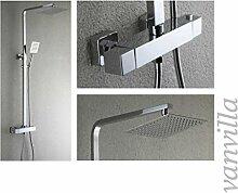 vanvilla Thermostat SEDAL Duschset Duscharmatur mit 20x20cm Edelstahlduschkopf und Handbrause 6192-8 Duschsystem Duschgarnitur