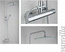 vanvilla Thermostat SEDAL Duschset Duscharmatur mit 30cm rund Edelstahlduschkopf und Handbrause 6684-12 Duschsystem Duschgarnitur Duschse