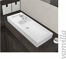 vanvilla Waschbecken Mineralguss Handwaschbecken Waschtisch Aufsatzwaschbecken Gussmarmor 1042 Hahnloch links