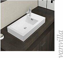 vanvilla Waschbecken Mineralguss Handwaschbecken Waschtisch Aufsatzwaschbecken Gussmarmor 9743 Hahnloch rechts