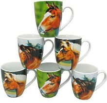 vanWell 6 Kaffeebecher (Pferde)