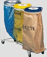 VAR Abfallsammler 3-Fach, fahrbar kieselgrau, Deckel silber, gelb und blau aus Kunststoff, BxTxH 1200x500x980