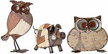 VARILANDO Metall-Figuren 3er Set Patchwork mit Keinen, 2 x Eule, 1 x Schwein, handbemalt,