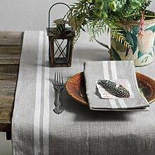 Varvara Home 1710 Tischläufer Tisa/ 100% Bauerleinen (50x150 cm, Grau)