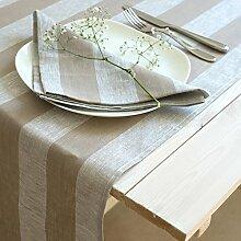 Varvara Home Leinen Tischläufer - Läufer - Tischband - 50x150 Grau Beige 1634