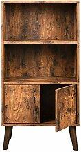 VASAGLE Retro Bücherschrank, Bücherregal mit 2