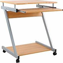 VASAGLE Schreibtisch, Computertisch mit 4 Rollen,