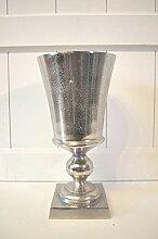 Vase Aluminium rustikal Metall Pokal Shabby Tischdeko antik-silber ca. 27cm Höhe