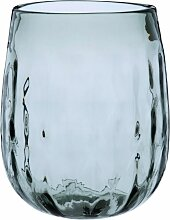 Vase aus gewelltem Glas, graublau getönt