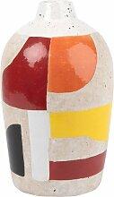 Vase aus Terrakotta, ecrufarben mit buntem